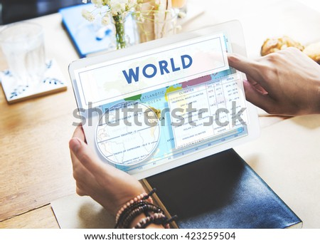 Longitude Latitude World Cartography Concept - stock photo