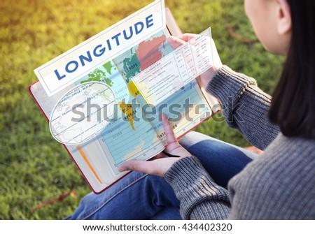 Longitude Latitude World Cartography Concept - stock photo