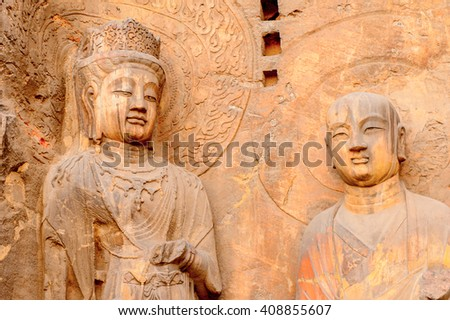 Longmen Grottoes ( Dragon's Gate Grottoes) or Longmen Caves.UNESCO World Heritage of tens of thousands of statues of Buddha and his disciples