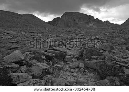 Longs Peak, Colorado Fourteener in the Front Range, with thunderstorm clouds approaching in Colorado, Rocky Mountains, USA - stock photo