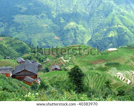 Longsheng county in China - stock photo