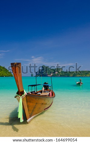 Longtail boats on the Loh Dalum beach, Phi-Phi Don island