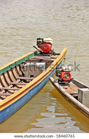 longtail river boats - stock photo