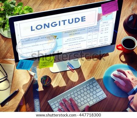 Longtitude Latitude World Cartography Concept - stock photo
