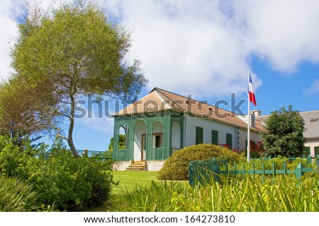 Longwood House which was the residence of Napoleon during his exile to St Helena. - stock photo