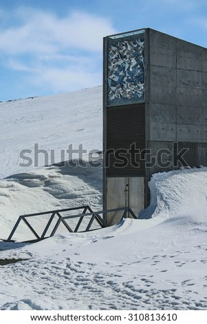 LONGYEARBYEN,SVALBARD, NORWAY - 19 May 2015. The inconspicuous entrance to the Svalbard Global Seed Vault built into an abandoned arctic coal mine. The vault preserves the global seed biodiversity. - stock photo