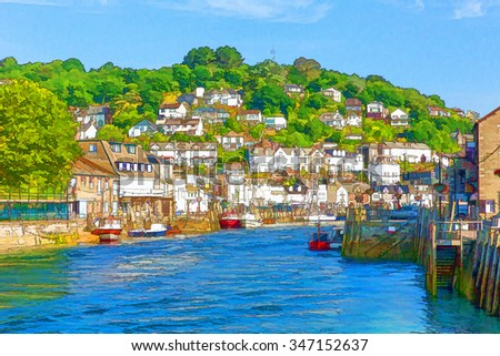 Looe Cornwall England with blue sea on a sunny summer day bright colours illustration like cartoon effect