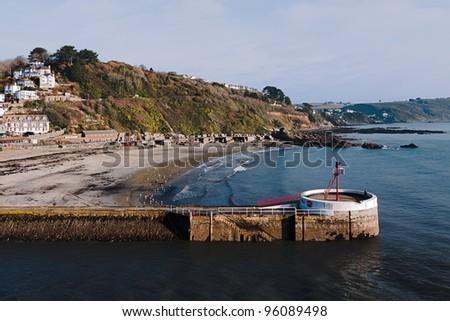 Looe, Cornwall in winter - with banjo pier landmark - stock photo