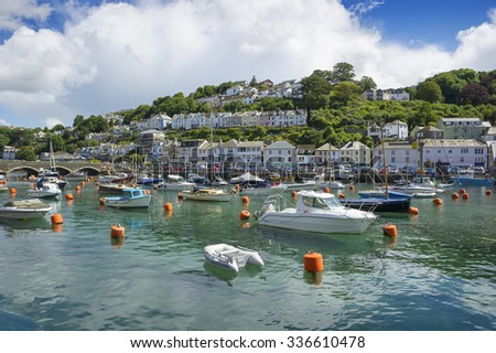 Looe Harbour on a sunny day, Cornwall, United Kingdom.