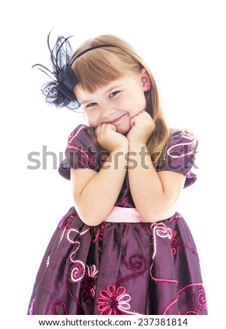 Look adorable little girl close-up. Happy childhood, fashion, autumnal mood concept. Isolated on white background - stock photo