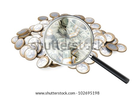 look at your success in business loupe with money isolated on white (version 2) - stock photo