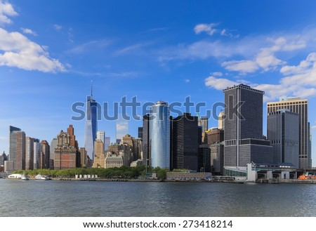 Look back from the boat to Manhattan, New York City - stock photo