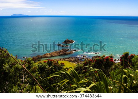 Look from the high of rocks in the sea in new zealand