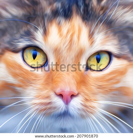 Look into your soul of an extremely beautiful cat female. Eye contact with widely open feline pupils. Amazing illustration in oil painting style. Great for user pic, icon, label, emblem, tattoo. - stock photo