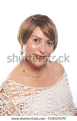 look of woman of 60 age  isolated on white background - stock photo