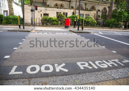 Look right sign on a street - stock photo