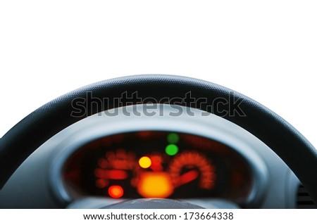 Look  through a car wheel - stock photo