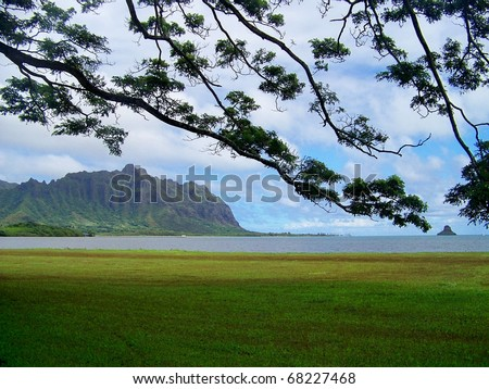 Looking across the bay at the Koolau Mountain Range and Chinaman's Hat, which are framed by the branches of a Monkey Pod tree. - stock photo