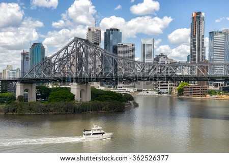 Looking across the Brisbane River to the city of Brisbane