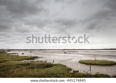 looking across the estuary to maldon from heybridge basin in essex england - stock photo