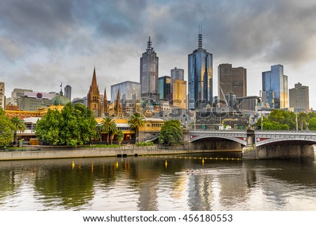Looking across the Yarra river from Southbank to the CBD of Sydney