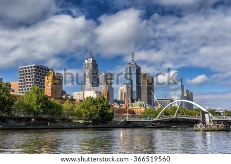Looking across the Yarra River to Melbourne City - stock photo