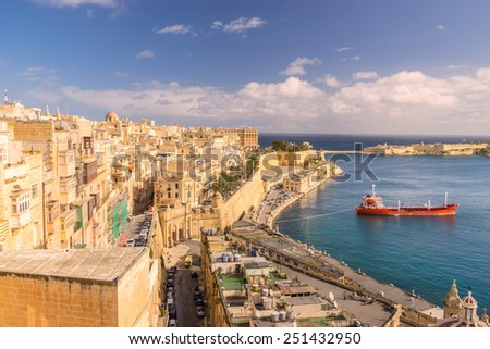 Looking across to Barrakka Gardens and Victoria Gate in Valletta - stock photo