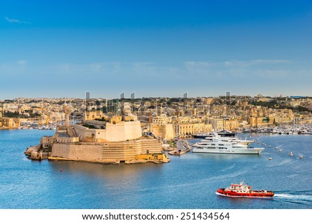 Looking across to Fort St Angelo from Valletta - stock photo