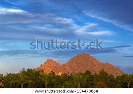 Looking across vivid green trees at Camelback Mountain against a deep blue sky.  Phoenix, Arizona, USA. - stock photo