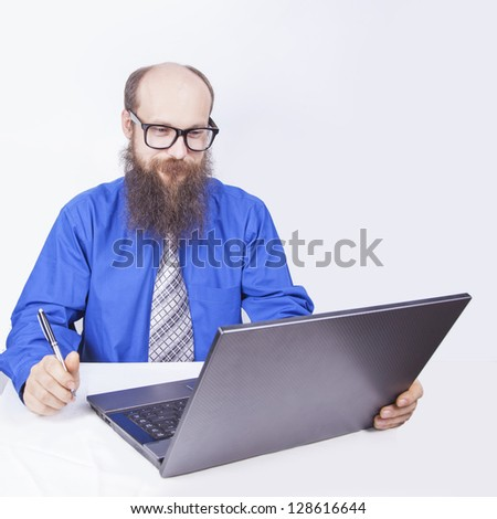 Looking and reading - Businessman (Series) - stock photo