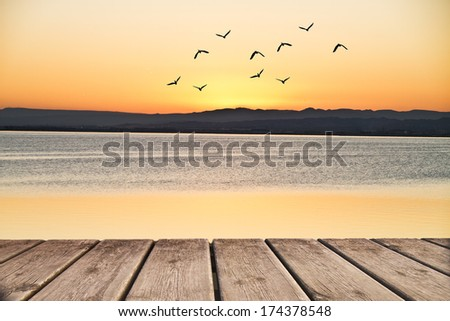 looking at the lake from the jetty - stock photo