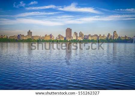 Looking at the Upper East Side from the Jacqueline Kennedy Onassis Reservoir in Central Park, New York
