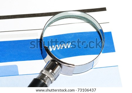 Looking at www through magnifying glasses - stock photo