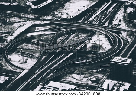 Looking down at freeway in Chicago - stock photo