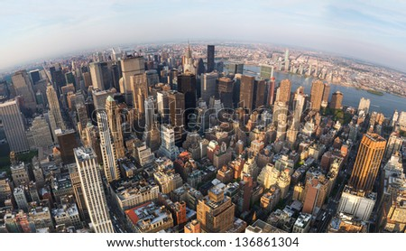 Looking down at New York City, View of north east Manhattan, East River, Roosevelt Island and far far away - Wide Angle