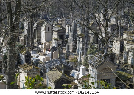 Looking down at the Pere Lachaise Cemetery in Paris, France. - stock photo