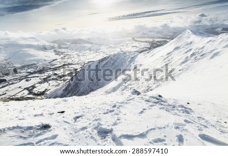 Looking down from the summit of Blencathra (Saddleback) in the Lake District.