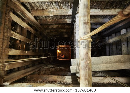 Looking down into the moonstone mine in Sri Lanka. - stock photo