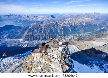 Looking down on Aiguille Du Midi cable car station, Chamonix, France - stock photo