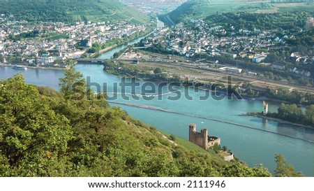 Looking Down on River Rhine - stock photo
