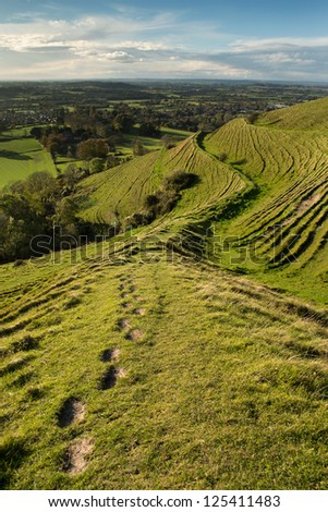 Looking down on the village of Child Okeford, Dorset from the Iron Age hillfort at Hambledon Hill