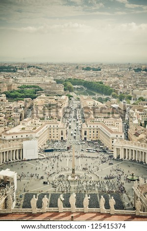 Looking down over Piazza San Pietro in Vatican City - stock photo