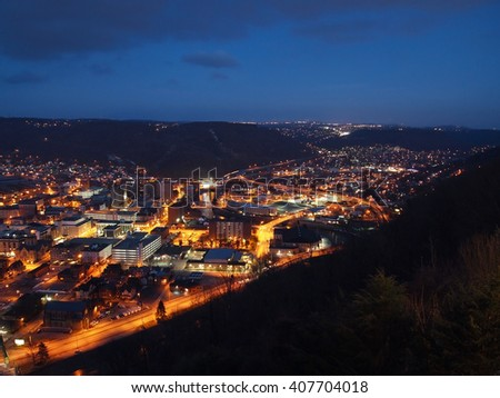 Looking down over the city of Johnstown, Pennsylvania at night.   - stock photo