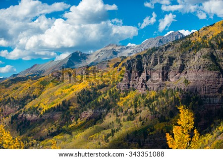 Looking down the Black Bear Pass Towards the Telluride Fall Colors Colorado Landscape
