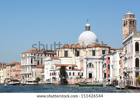 Looking down the Grand Canal in Venice towards the Church of San Stae - stock photo