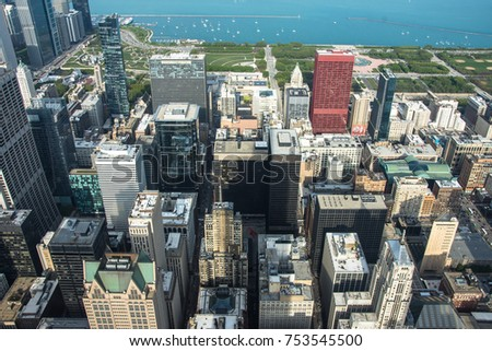 Looking Down to Chicago, USA. Cityscape background