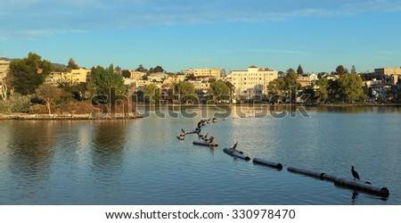 Looking east across Lake Merritt, Oakland, California. - stock photo