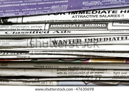 Looking for a job concept - many uses for employment and job related. - stock photo