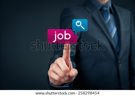 Looking for a job on-line concept. Person click on virtual button with text find job.  - stock photo