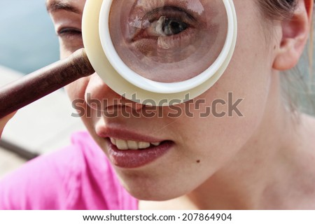 Looking for a job or Searching face, Googly eyes, Big eye - stock photo